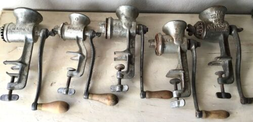 Lot of 5 Antique Kitchen Meat Grinder Food Choppers Made in USA