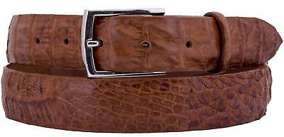 Mens Chedron All Real Crocodile Exotic Skin Belt Dress Silver Tone Buckle Silver Crocodile Belt
