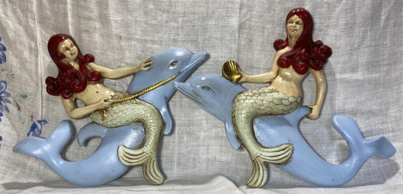 1970s Atlantic Mold Rare Ceramic Mermaid Dolphin Nautical Beach Wall Plaque Set