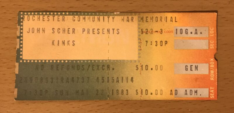 1983 THE KINKS ROCHESTER NEW YORK CONCERT TICKET STUB YOU REALLY GOT ME DAVIES