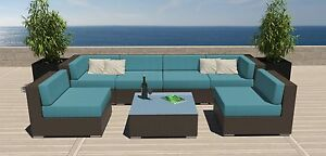 7 PC Modern Outdoor All Weather Wicker Rattan Patio Set Sectional Sofa Furniture