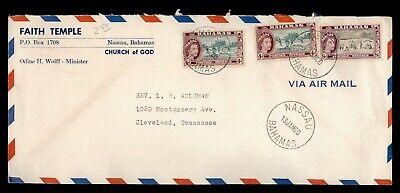 DR WHO 1960 BAHAMAS NASSAU AIRMAIL TO USA CHURCH/TEMPLE CORNER  f05853