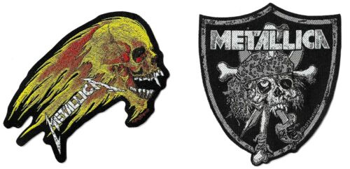 Metallica Raiders Skull + Flaming Skull Patch Lot [UK Import] Die-Cut Patches