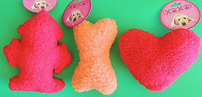 - Fleece HEART, FIRE HYDRANT, MAN or BONE Play Fetch Fun Happy DOG SQUEAK TOY NWT
