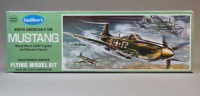 GUILLOW P-51D MUSTANG BALSA TISSUE AIRPLANE MODEL KIT 1:25 Scale WWII GUL905 NEW