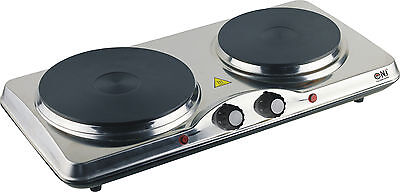 Portable Double  Electric Solid Hot Plate Cooker Stainless Steel 2500W NEW