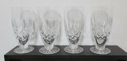 SET OF 4 IRISH CUT CRYSTAL WATERFORD LISMORE FOOTED ICE TEA GLASSES