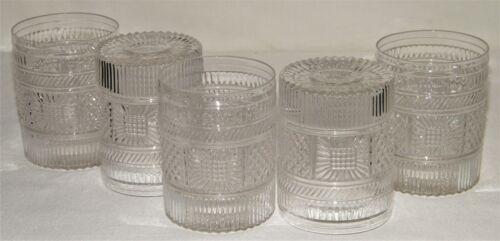 Set (5) MMA Museum Modern Art CLEAR DIAMOND & SUNBURST GLASS TUMBLERS Sandwich