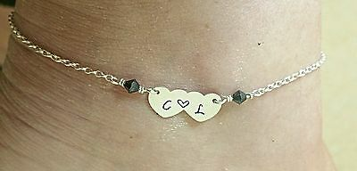 ANKLE BRACELET • Hand Stamped Double Heart Initial • ANKLET • Sterling Silver