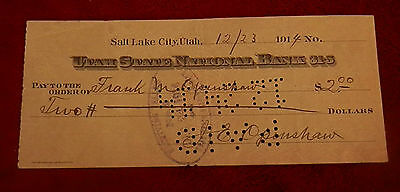 1914 Salt Lake City Utah State National Bank  Check 12 23 14  J E Openshaw
