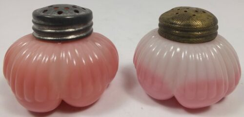 EAPG Antique Challinor Pink Opaque Glass Pleated Skirt Salt & Pepper Shakers