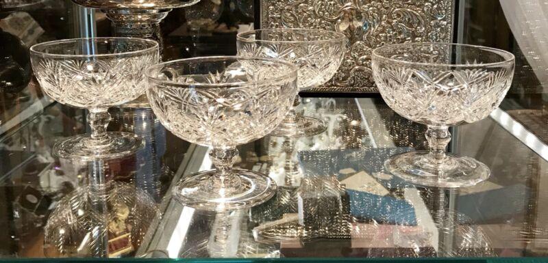 4 Rare Vintage Thomas Webb English Cut Crystal Compotes