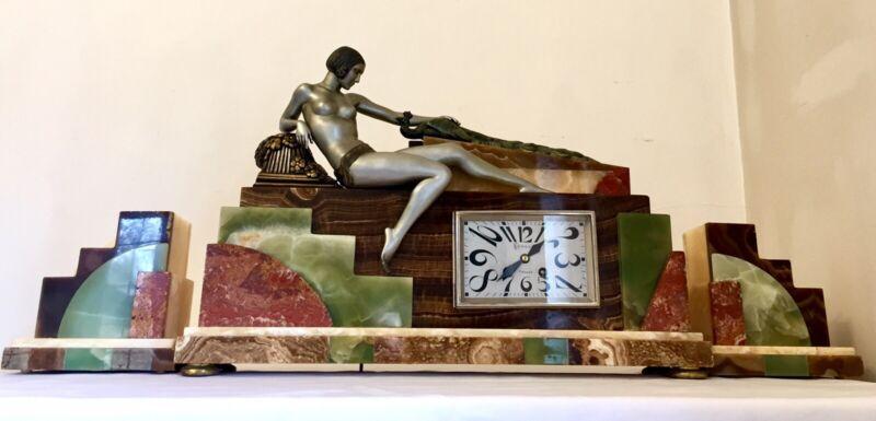 Art Deco Clock Nude Lady With Peacock Sculpture