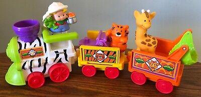 Fisher Price Little People Musical Zoo Safari Train COMPLETE Eddie Tiger Giraffe