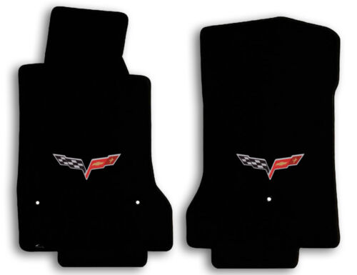 Black Lloyd Velourtex Floor Mats for 2008-2013 Chevrolet Corvette w Flags Logo