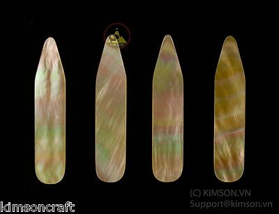 Collar Stay - Genuine Gold Mother Of Pearl - Size 64 x 10 x 1.5 mm ( 6 pcs )