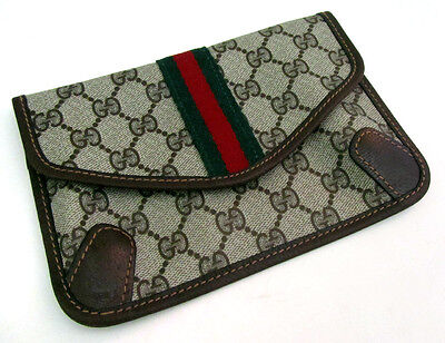 Vintage Gucci Women's Designer Coated Canvas Monogram Clutch Purse Bag Model 067
