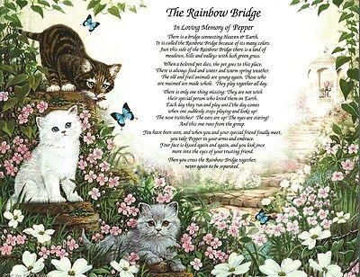 THE RAINBOW BRIDGE Pet Memorial Poem Gift for Loss of Your Beloved Cat/ Kittens