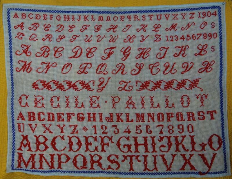 DATED 1904 ~ LARGE FRENCH RED WORK SAMPLER ~  5 ALPHABETS ~ NUMBERS