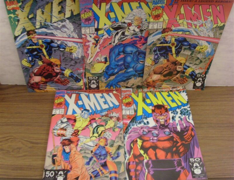 X-MEN 1 MARVEL VARIANT SET 5 COMICS JIM LEE COVERS CLAREMONT WILLIAMS 1991 NM
