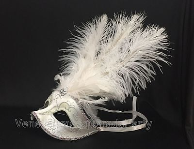 Girl Mask - Venetian White Masquerade Mask Show Girl Ostrich feather Costume Dress up Party