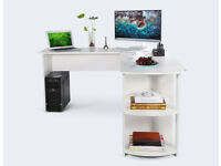 L-Shaped Office Computer Desk, Large Corner PC Table with 2 Shelves, White Wood Grain