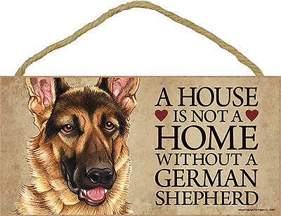 German Shepherd Wood Dog Sign Wall Plaque 5 x 10 + Bonus Coaster