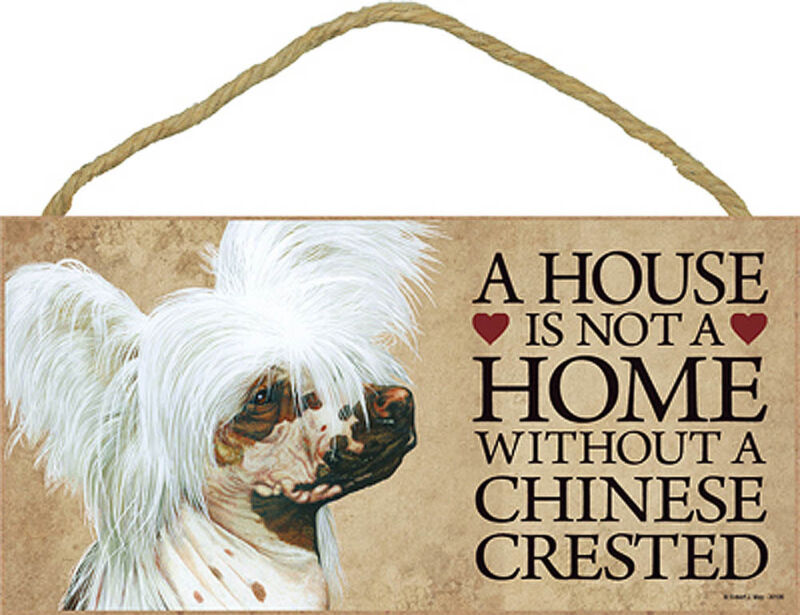 Chinese Crested Wood Sign Wall Plaque 5 x 10 + Bonus Coaster
