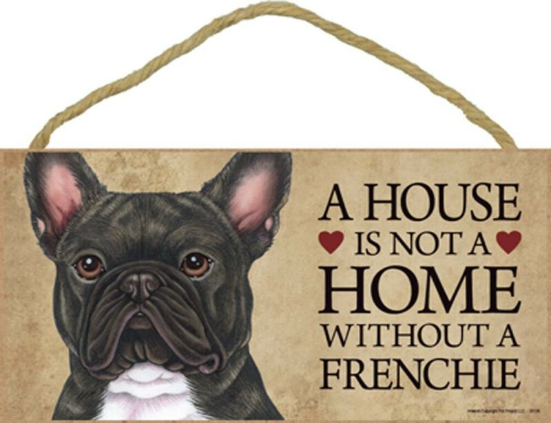 French Bulldog Wood Sign Wall Plaque 5 x 10 + Bonus Coaster Brindle