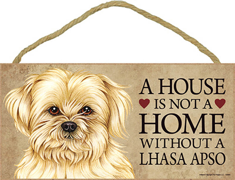 Lhasa Apso Wood Sign Wall Plaque 5 x 10 + Bonus Coaster