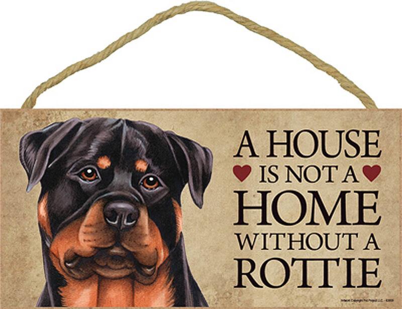 Rottweiler Wood Dog Sign Wall Plaque 5 x 10   Bonus Coaster