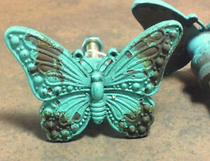 Shabby Chic Turquoise Distressed Butterfly Knobs Cabinet Drawer