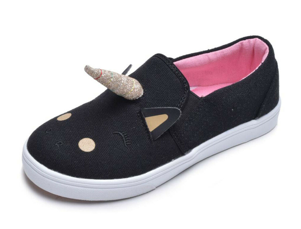 toddler girls black unicorn low top canvas