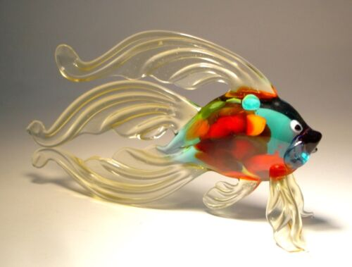 Blown Glass Figurine Art Clear Betta FISH with Colorful Body