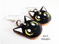 Black Handmade Cat Earrings