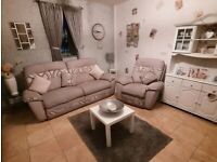 Stunning SCS beige fabric large 2 seater electric reclining sofa and matching manual recline chair