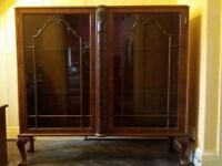 Carved wooden bookcase/display cabinet