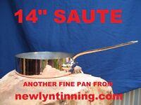 "Newlyn tinning MASSIVE 14"" 36cm HELVEITA copper saute pan saucepan pot"