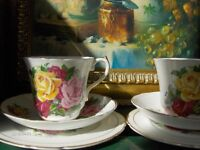 Set Of 2 Vintage Tea Cups With pink and yellow rose