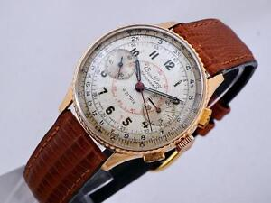 VINTAGE BREITLING CHRONOMAT 217012 18K GOLD CHRONOGRAPH WATCH VENUS 175 CALIBER ORIGINAL DIAL 1946