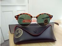 RayBan Retro Round Sunglasses Leopard Green