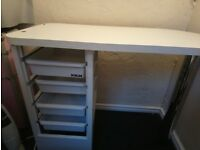 Nail technician table with storage drawers