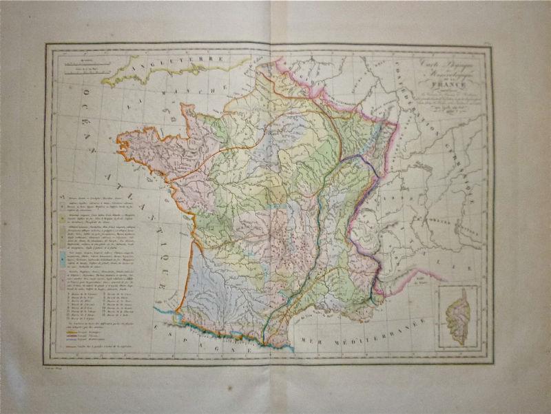 1832 Genuine Antique Geological map of France. Malte-Brun