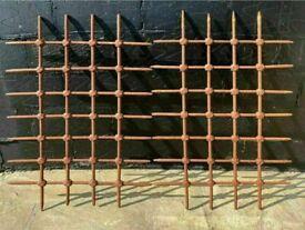 2 Antique Wrought Iron Steel Window Grills Bars / Mountjoy Prison Ireland 1850