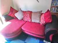 LARGE 3 SEATER SOFA COMPLETED WITH SWIVEL CHAIR AND CUSHIONs