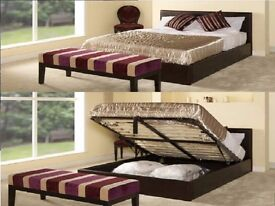 **Big Sale Starts** DOUBLE LEATHER STOAGE BED FRAME WITH ORTHOPAEDIC MATTRESS BLACK - BROWN