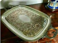 Sensible Offers... Fine Quality Silver On Copper Butler's Serving Tray