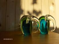 Vintage Murano Art Glass Elephant- Green/Blue/Clear , 2 Pieces
