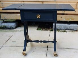 Small drop leaf occasional table. Very elegant. Dark grey