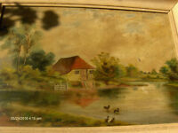 Antique Oil Painting River Cottage With Dicks